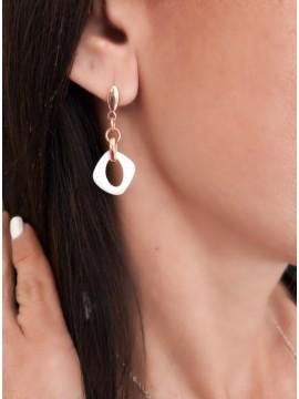 Γυναικείο μοντέρνο σκουλαρίκι ατσάλινο Ceramic Rhombus