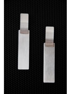 Γυναικείο μοντέρνο ατσάλινο σκουλαρίκι Dοuble Plate