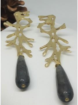 Σκουλαρίκι  χειροποίητο επιχρυσωμένος ορείχαλκος Opus4  Nature