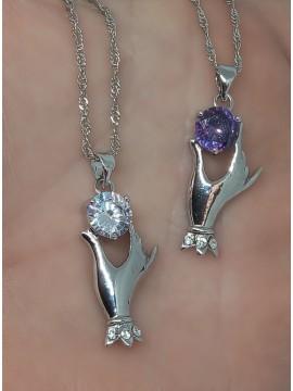 Κολιέ ατσάλινο χειροποίητο γυναικείο Purple Hand