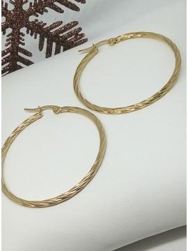 Σκουλαρίκι κρίκος ατσάλινος στριφτός  gold