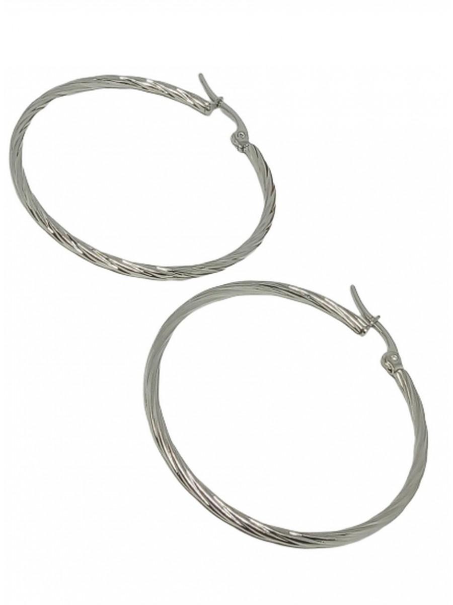 Σκουλαρίκι κρίκος ατσάλινος στριφτός silver