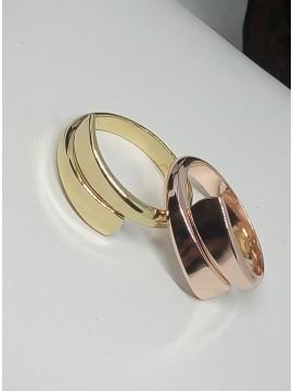 Δαχτυλίδι ορειχάλκινο χειροποίητο γυναικείο διπλό τελείωμα gold