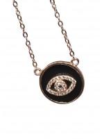 Κολιέ ασήμι 925 γυναικείο ματάκι ροζ