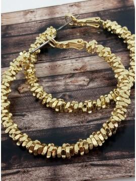 Σκουλαρίκι χειροποίητο επιχρυσωμένος ορείχαλκος κρίκος Gold Glamour