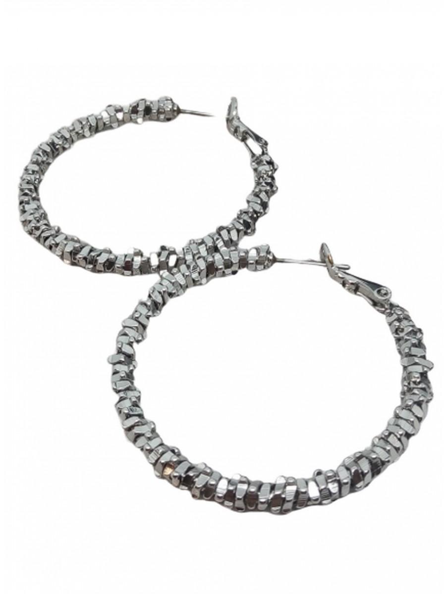 Σκουλαρίκι χειροποίητο επάργυρος ορείχαλκος κρίκος Silver Glamour